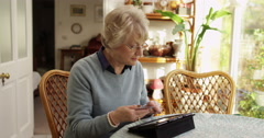 A senior woman making a purchase off of the internet with her credit card. Stock Footage