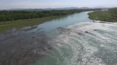 Rapids on the River Durance into the sun, Pertuis, France by drone Stock Footage