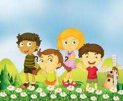 Children playing in the garden Stock Illustration