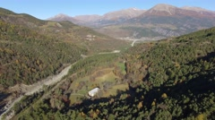 The mountain forest domaniale de Boscodon, France in autumn – aerial view by Stock Footage