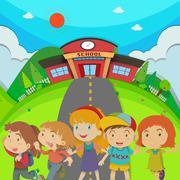Children standing in front of school Stock Illustration