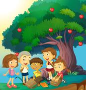 Children hanging out under the apple tree Stock Illustration