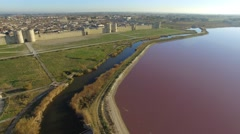 Aerial view of Aigues-Mortes, France in the morning Stock Footage