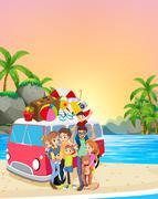Family having fun on the beach Stock Illustration
