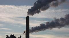 Power plant chimneys, black smoke speedup Stock Footage