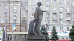 Monument Petrovsky in Dnepropetrovsk Stock Footage
