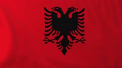 Flag of Albania waving in the wind. Stock Footage