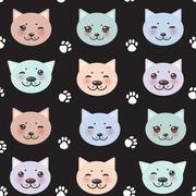 Seamless pattern funny cat muzzle and paw prints. Vector Stock Illustration