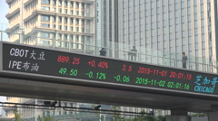 China, Shanghai stock exchange index, ticker board displaying information Stock Footage