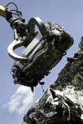 Lifted scrap car - stock photo