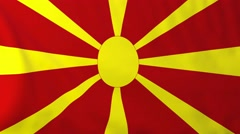 Flag of Macedonia waving in the wind. Stock Footage