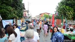People shopping and travel at Kad Kong Koa or Kad Pranon Walking Street Market Stock Footage