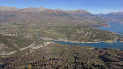 Aerial view of the Lac de Serre-Poncon lake and mountains, French Alps, France – Stock Footage