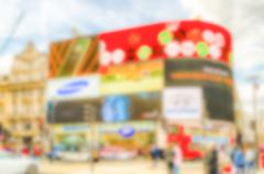 Defocused Background of Illuminated signs in Piccadilly Circus, London, UK. I - stock photo