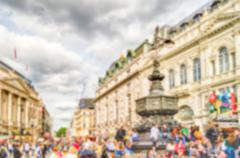 Defocused Background of Piccadilly Circus, London, UK. Intentionally blurred  - stock photo