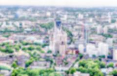 Defocused Backgroud with Aerial View of London, UK. Intentionally blurred pos - stock photo