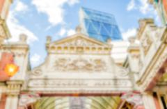 Defocused Background of Traditional Covered Market in London, UK. Intentional - stock photo