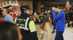 Policeman Public Order in Yearly Festival in Spain Stock Footage