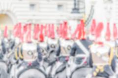 Defocused Background with british guards on parade in London, UK. Intentional - stock photo