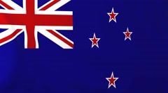Flag of New Zealand waving in the wind. - stock footage
