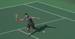 Tennis Player Plays Great Shot and Celebrates. Stock Footage