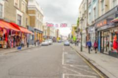 Defocused Background of People walking in Portobello Road, Notting Hill, Lond Stock Photos
