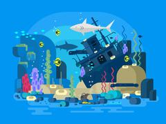 Sunken ship under water - stock illustration