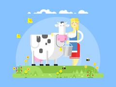 Cartoon character cow and milkmaid Stock Illustration