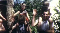 Happy Family People Kids Wave Hello 1960s Vintage Film Retro Home Movie 9342 Stock Footage