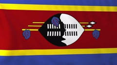 Flag of Swaziland waving in the wind. Stock Footage