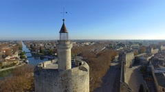 Tower of Constance and the city wall at Aigues-Mortes, France, view by drone Stock Footage