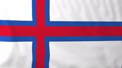 Flag of Faroe islands waving in the wind. Stock Footage
