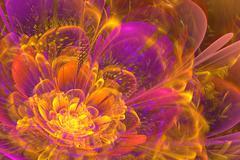 Orange and violet Fractal flower Kuvituskuvat
