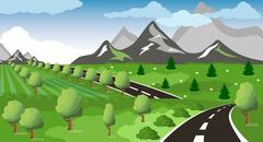 Spring or summer road to the mountain - stock illustration