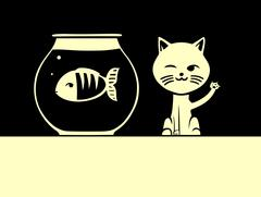 Cat and fish Stock Illustration