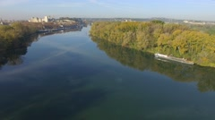 River Rhone at Avignon in autumn, France – aerial view by drone Stock Footage