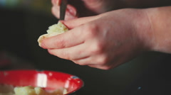 Making Dumplings Woman Hands Stock Footage