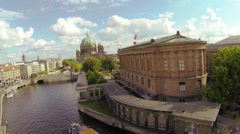 Berlin Dom aerial, old national gallery Stock Footage