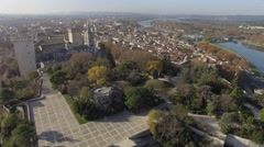 Garden of the Rocher des Doms and historic centre of Avignon, France – aerial - stock footage