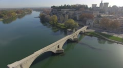 Pont d'Avignon bridge and historic centre of Avignon, France – aerial view by - stock footage