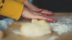 Making of dumplings. Cutting The Dough Stock Footage
