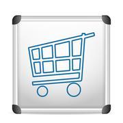 Whiteboard shopping cart Stock Illustration