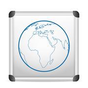 whiteboard world globe - stock illustration