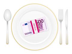 plate cutlery and five hundred euro pack - stock illustration