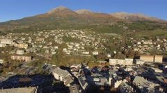 Embrun Cathedral of Notre-Dame, Embrun, Alps, France – by drone - stock footage