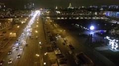 Stock Video Footage of aerial beautiful downtown Moscow lights copter drone