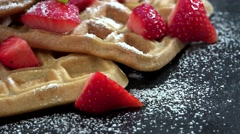 Homemade Waffles with fresh Strawberries (not loopable, 4K) Stock Footage