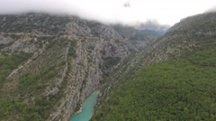 The Gorges du Verdon gorge in autumn – aerial view by drone Stock Footage