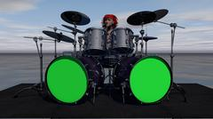 Female Rock Drummer Behind Big Drum Set - stock illustration
