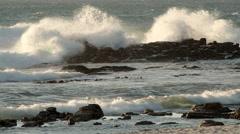 Waves break on rocks Stock Footage